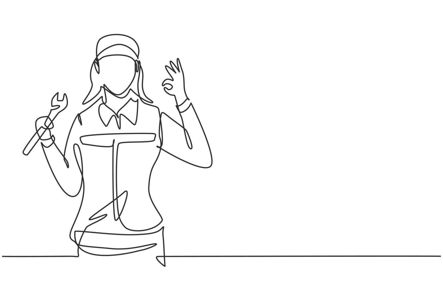 Continuous one line drawing female mechanic with gesture okay and holding wrench works to fix broken car engine in garage. Success business concept. Single line draw design vector graphic illustration