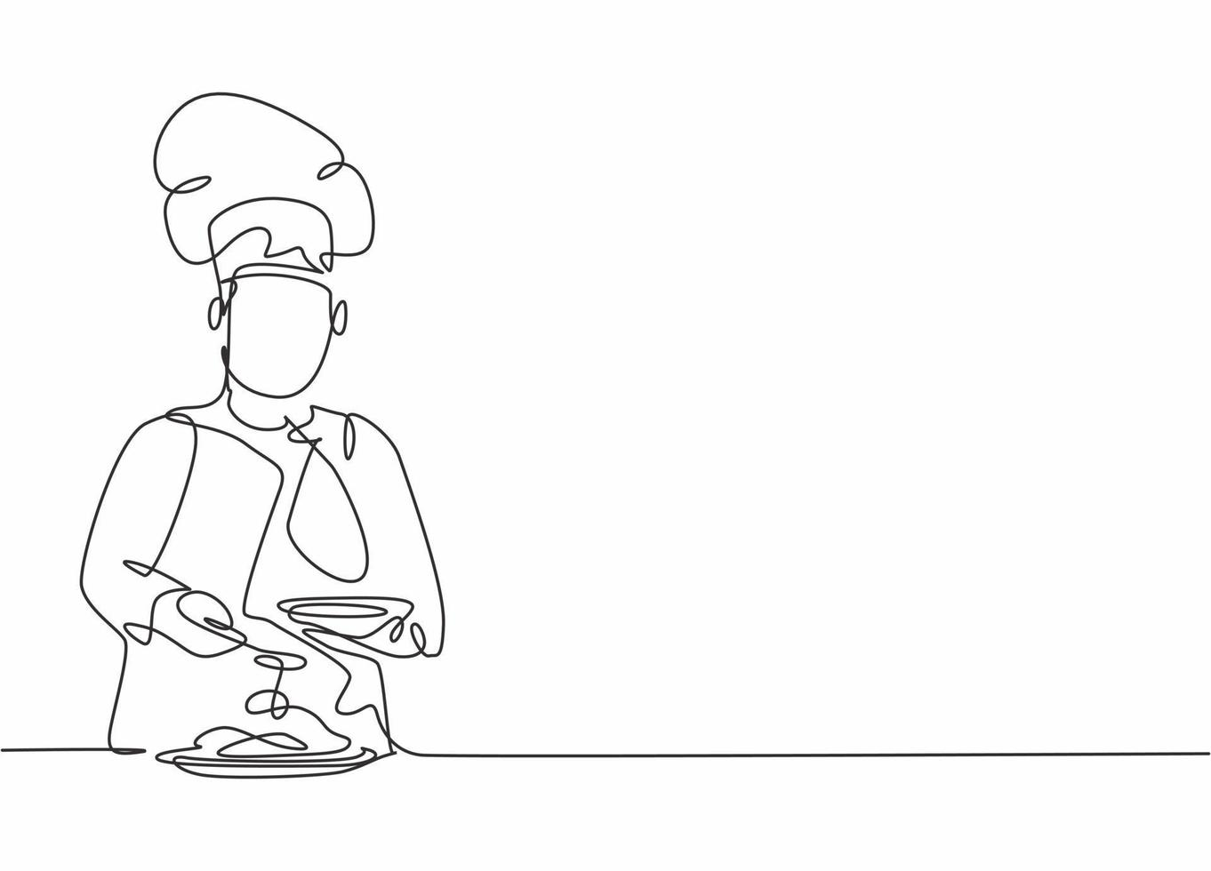 Single continuous line drawing of young happy male chef pouring sauce on main dish to serve to customer. Preparing healthy food concept one line drawing design vector minimalism illustration