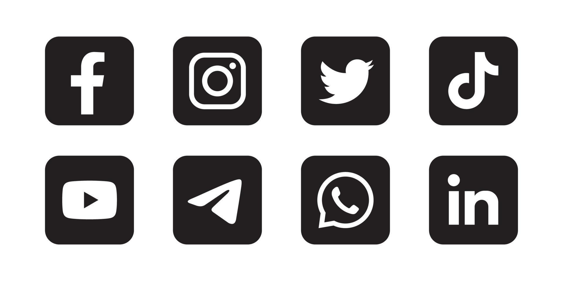 Set of social media icon in black background vector