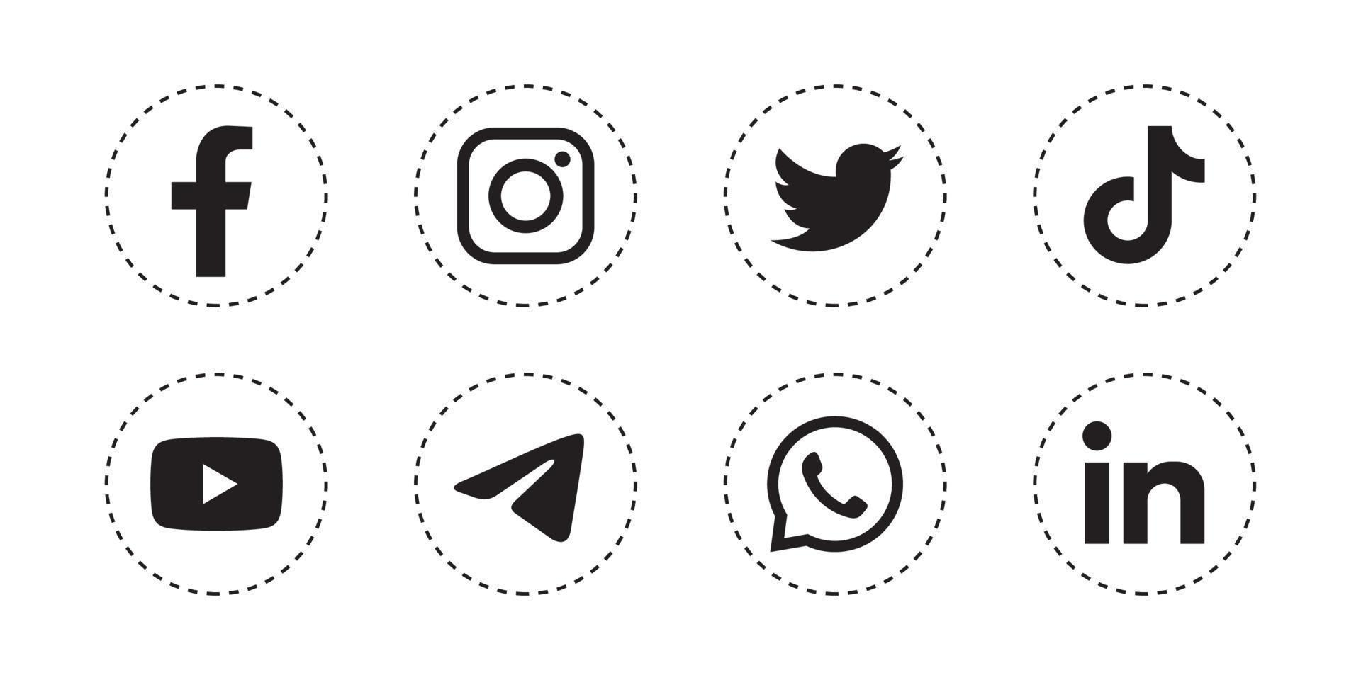 Set of social media icon in white background vector