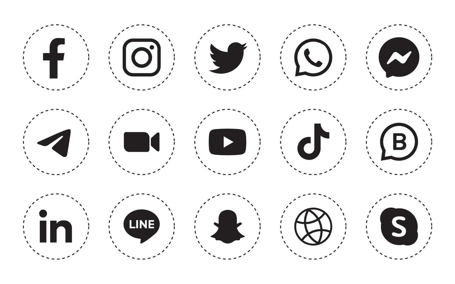 Set of round social media icon in white background vector