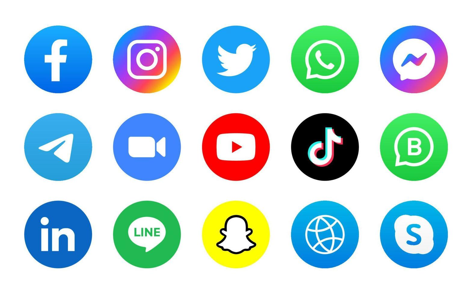 Set of social media icon in round background vector