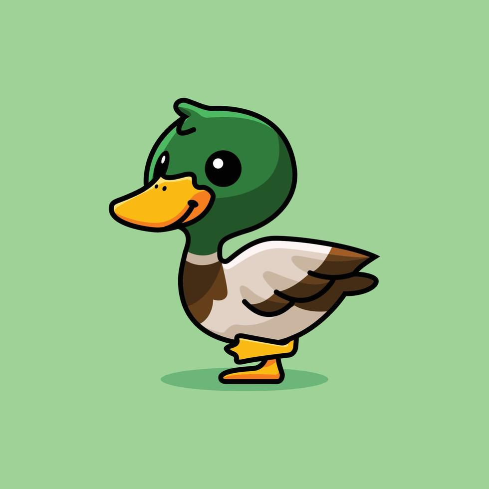 Vector illustration of cute duck animal mascot