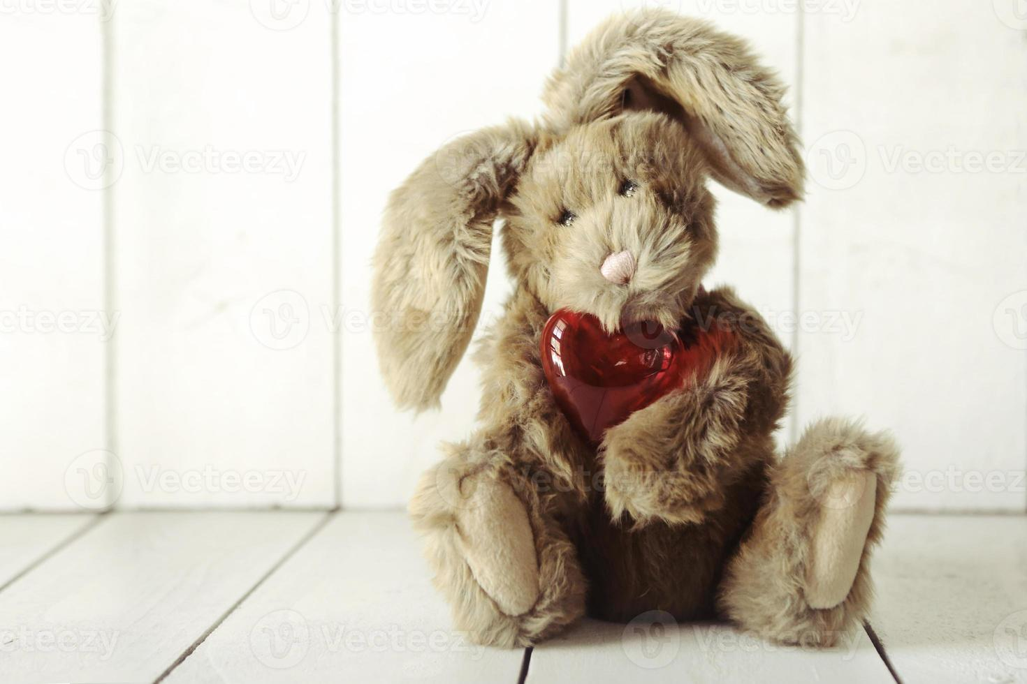 conejito de peluche con tema de amor de San Valentín o aniversario foto