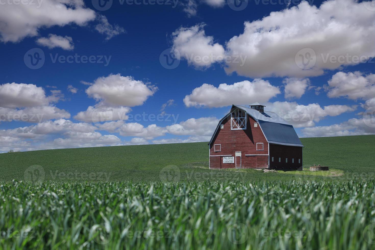 sol y granero rojo en los campos del país de palouse foto
