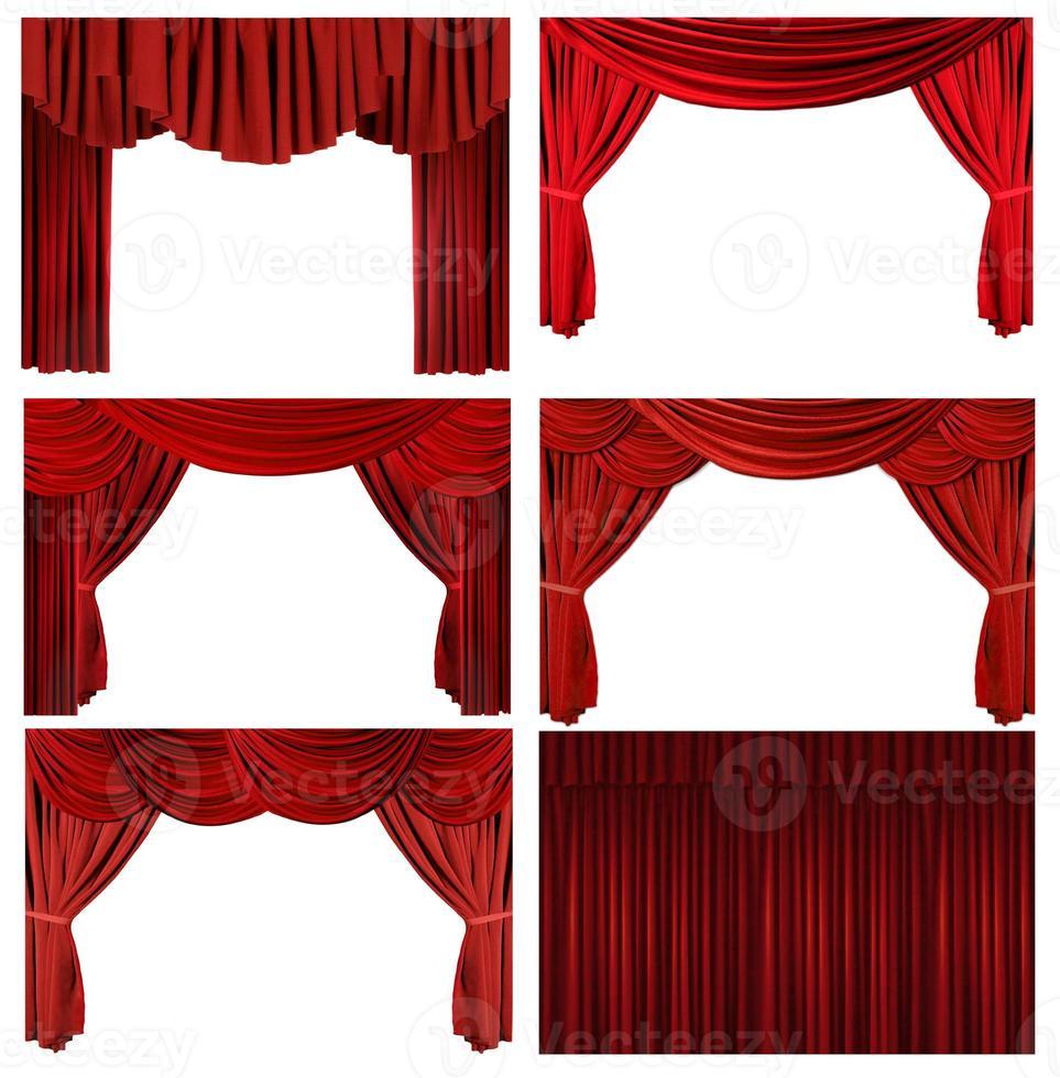 elementos dramáticos del escenario del teatro elegante pasado de moda rojo foto