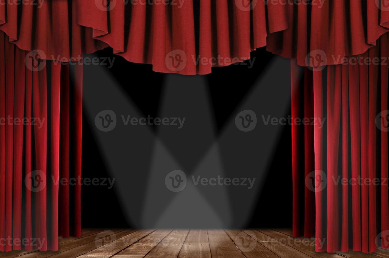 cortinas de teatro rojas con triple foco foto