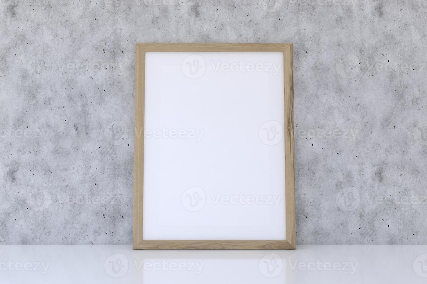 Wooden frame mockup with concrete texture photo
