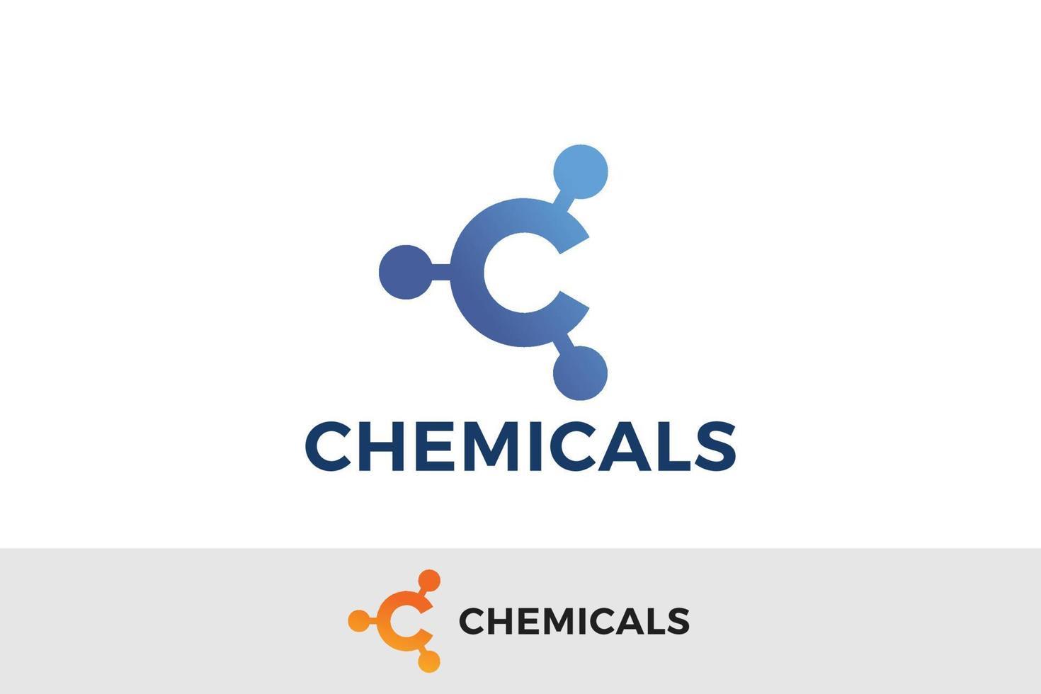 Letter C blue colour chemical bond logo vector