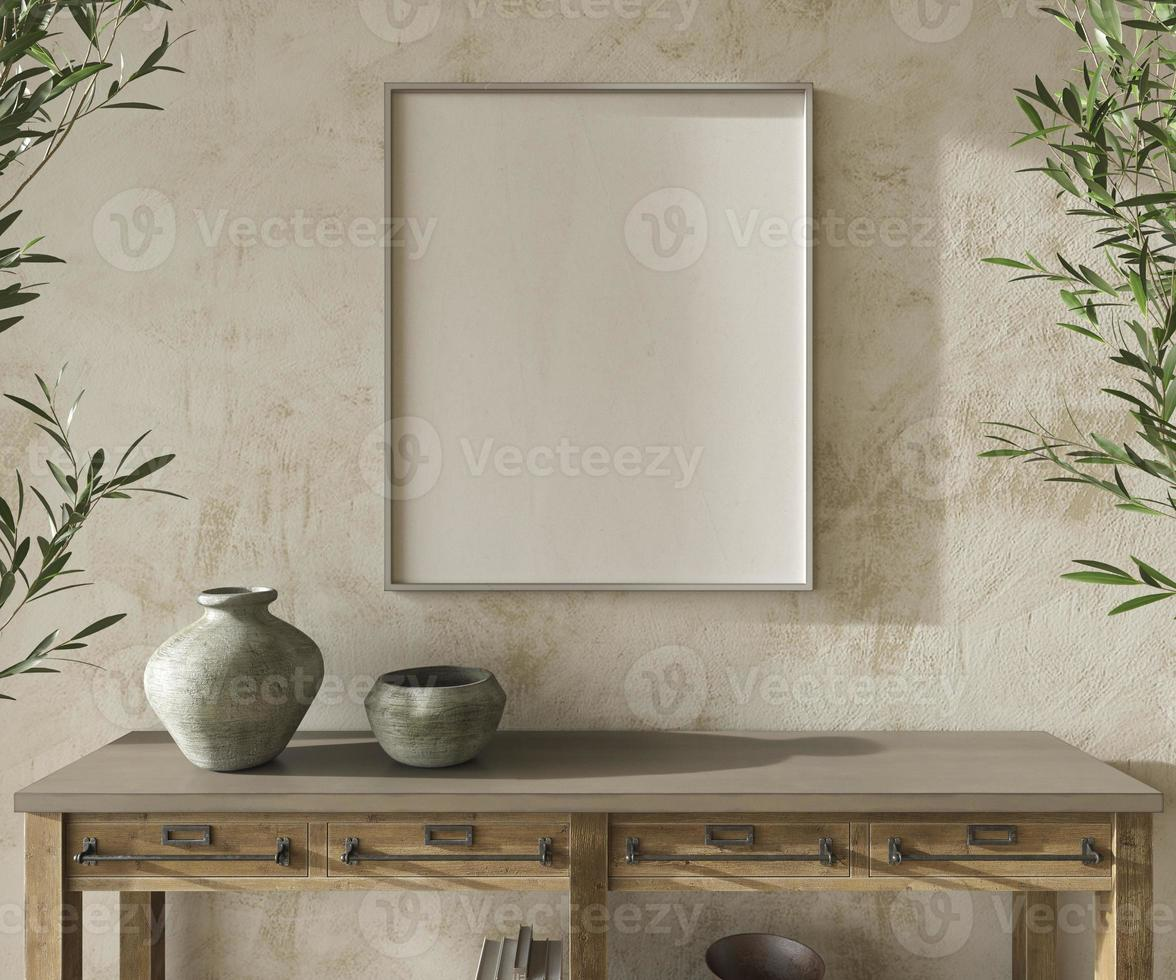Scandinavian design room with olive trees. Mockup frame in cozy home interior background. Farmhouse style 3d render illustration. photo