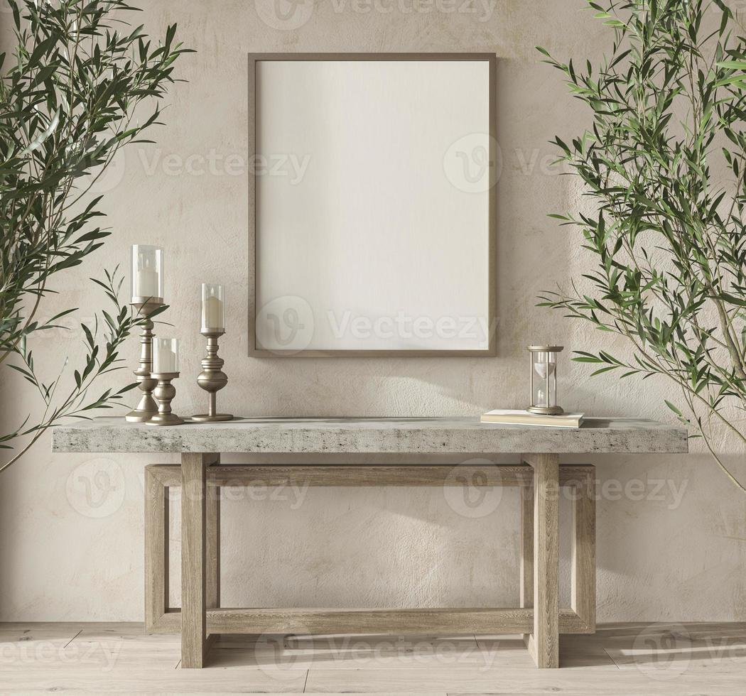 Scandinavian design room with olive trees. Mockup frame in cozy home interior background. Boho style 3d render illustration. photo
