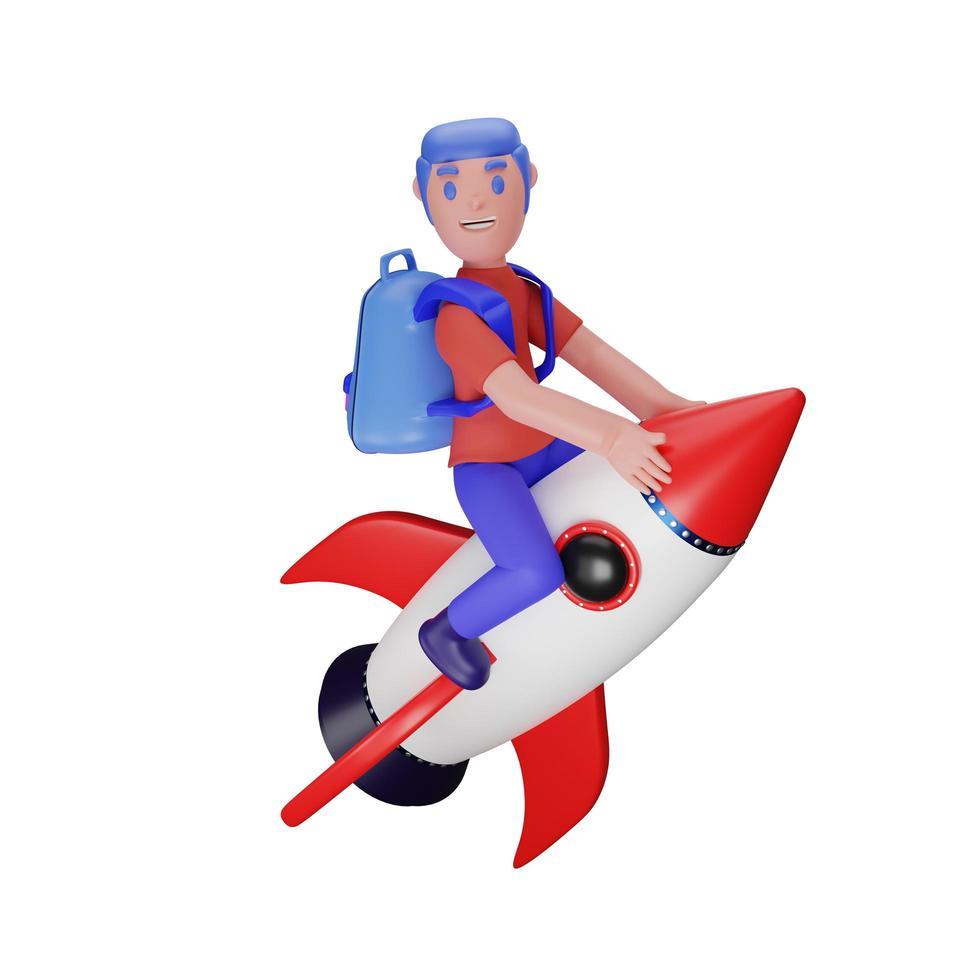 personaje montando un cohete con un concepto de regreso a la escuela foto