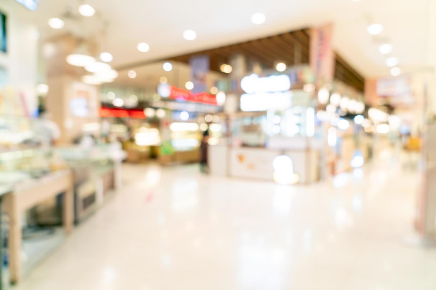 Desenfoque abstracto tienda y tienda en el centro comercial de fondo foto