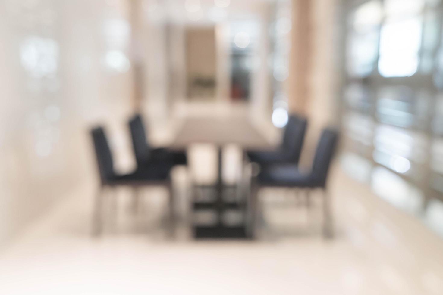 Desenfoque abstracto mesa vacía para fondo de comedor foto