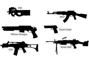 Silhouettes de vecteurs d'armes