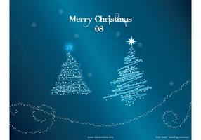 Kerstboom Vector - Kerstbomen Met Sneeuw Behang