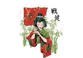 Molde japonês da camisa do vetor da gueixa