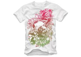Design Vector for Tshirts - Floral Zombie Nightmare