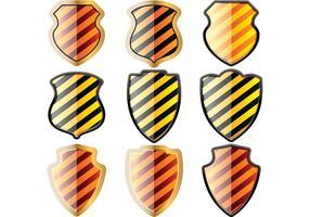 Gratis set schilden in zwarte en gele strepen