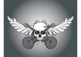 Vektor skalle, lövverk och gitarrer