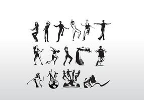 Aerobic Art Dancer Vector Siluetas