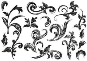Grunge Baroque Swirl Vectors