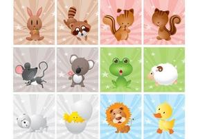 Söt Cartoon Animal Vector Pack