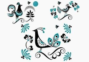 Bird Vector Blue Floral Bird Pack