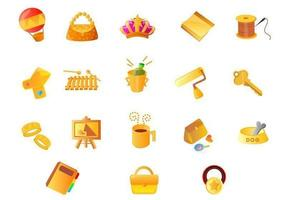 Various Gold Icon Vector Pack