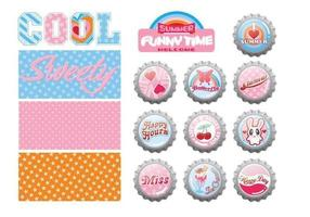 Summer Bottle Cap Vector and Pattern Pack
