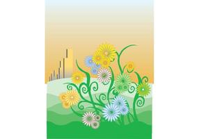 Floral Ornament Vector with Swirls