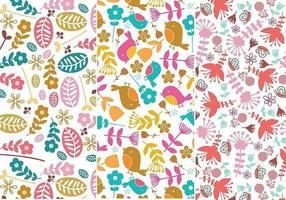Flower and Bird Illustrator Patterns vector