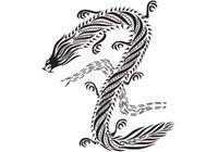 Dragon chinese style black & white