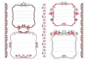 Bloemen Tags en Borders Vector Pack