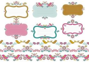 floral tags borders vector pack two