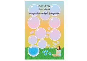 Chica soplando burbujas