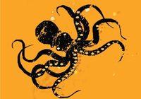 Octopus retro print | Black & Orange | deep sea creature
