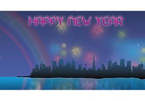 Fireworks New Year Night Vector