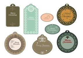 Elegante Merry Christmas Tag Pack Vector