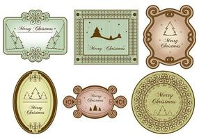Vintage Merry Christmas Label Vector Pack
