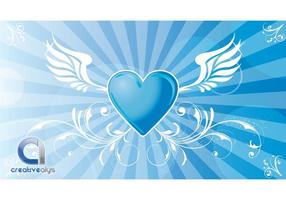 Heart-vector-background-with-wings