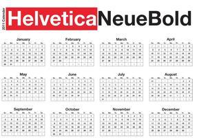 Calendrier de bureau typographique - Helvetica Neue