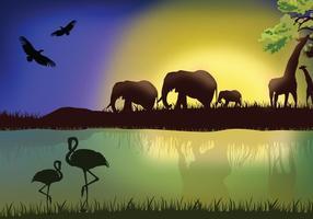 Paysage africain avec des animaux