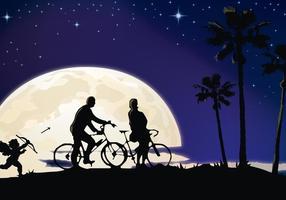 Casal de amantes à luz da lua
