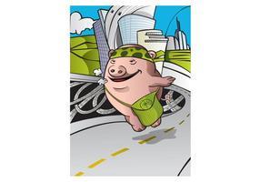 Pig hippie voyageant dans le monde