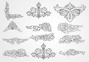 Decorative Floral Outlined Ornament Vectors