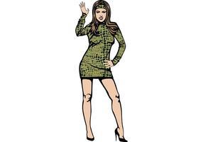 Girl In Alligator Leather Skirt Vector