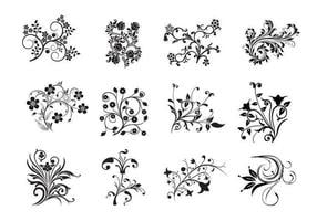 12 Swirly vectores florales