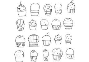 Freehand Vektor Cupcakes
