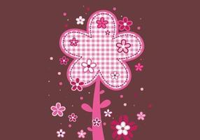 Roze plaid floral background vector pack
